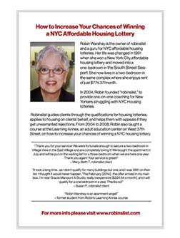 NYC Housing Lotteries 101 By Robin Warshay Back of Book